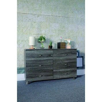Spacious Dresser With 6 Storage Drawers On Metal Glides, Gray Finish.