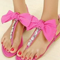 Cute T-shape Bowknot Rhinestone Thong Sandal from shoponline4