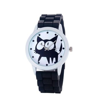 Fashion Cute Cat Watch Women 2017 Rubber Quartz Wrist watch Clock Child Girls Sports Quartz-watch Relogio Feminino