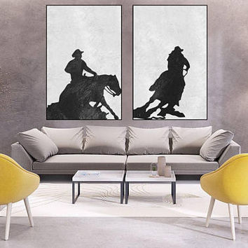 large Abstract painting minimal wall art canvas handmade Original Acrylic Painting black and white extra large wall decor minimal art cowboy
