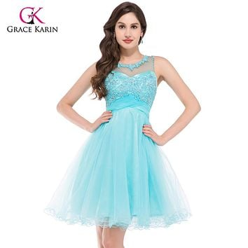 Luxury Backless Robe de Cocktail Dresses 2017 Grace Karin Short Tulle Green Elegant Gowns Blue Party Prom Coctail Dresses 6151