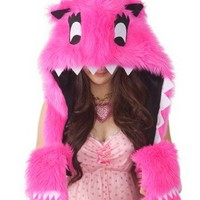 Happy Hoodie Friends Hot Pink Faux Fur Animal Monster Hat with Hood and Scarf - Cupcake