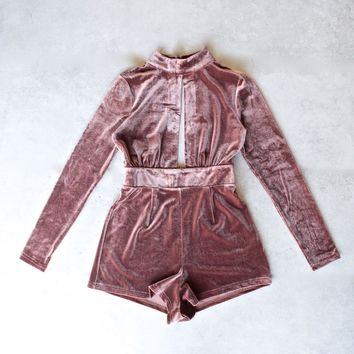 Long Sleeve Crushed Velvet Romper   Sable