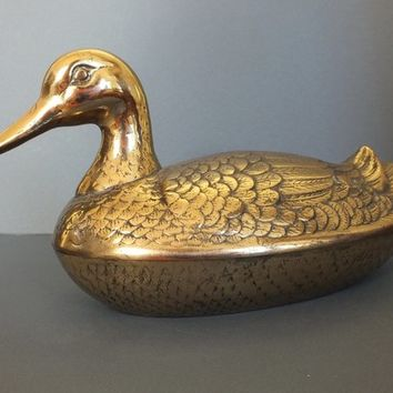 Vintage Mid-Century Decorative Brass Duck Box