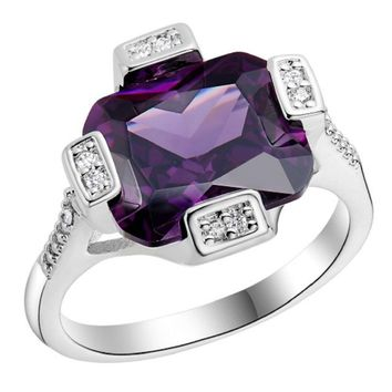 Silver Plated Wedding Square Purple Paved CZ Diamond Big Ring(8)