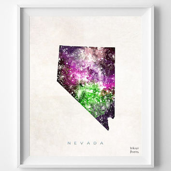 Nevada Map, Carson City Poster, Painting, Watercolor, Nursery, Room, Home Town, Wall Art, USA, State, United States, Decor, Gift [NO 364]