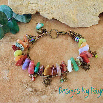 Rock Garden, Bohemian Rustic Earthy Multi Gemstone Bracelet, Colorful Natural Gemstones, Original Handmade Bohemian Jewelry by Kaye Kraus