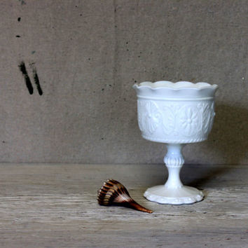 milk glass pedestal compote  // ruffle edge tall footed compote // wedding table centerpiece // cottage shabby chic
