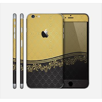 The Gold and Black Luxury Pattern Skin for the Apple iPhone 6 Plus