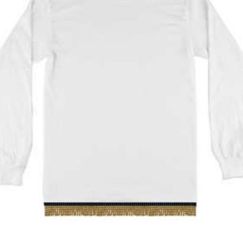 Plain White Long Sleeve T-shirt With Fringes