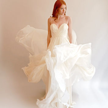 Feather Light Silk Wedding Gown with Embellished Bodice--Lea--Blush or Ivory