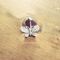 Belly Button Piercing, Rhinestone piercing, Butterfly Belly Button, Summer Festival