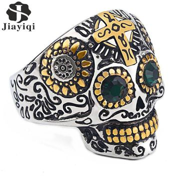 Jiayiqi Punk Gothic Titanium Stainless Steel Casting Skull Cross Ring Green CZ Eyes for Men Jewelry Vintage Biker Party Gift