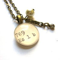 XL Brass and Pearl Dewey Decimal Necklace with Vintage Glass Pearl and Rhinestone Accent Aged Brass Extra Long Chain