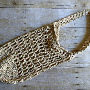Crochet Mesh Small Market Bag - Creme Color - Beach Bag