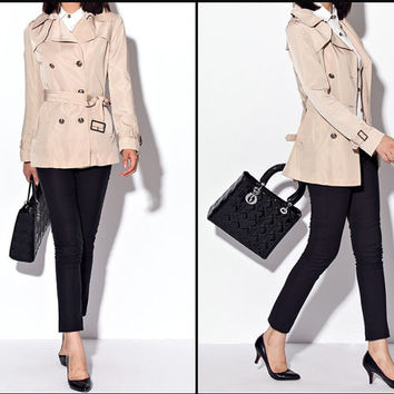 Water-proof winter women trench coat, Short, Double breasted women jacket coat