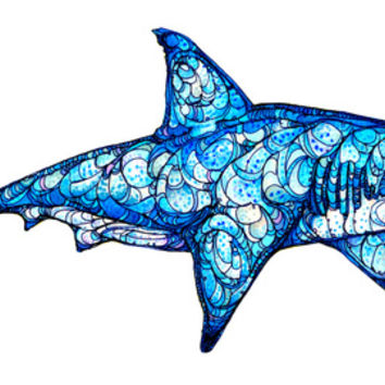 Shark Art Print by Kate Fitzpatrick | Society6