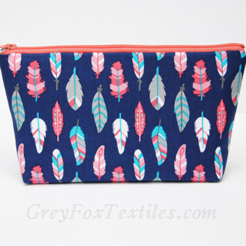 FEATHER MAKEUP BAG,  Blue cosmetic case, blue and coral, blue and peach, teal feathers bag, small pencil pouches, feather zipper pouch