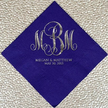 100 Monogrammed Napkins with Names and Dates