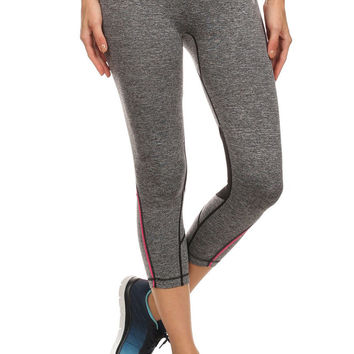 ShoActive Women's Gray with Pink Trim Tummy Control Workout Capri Pants
