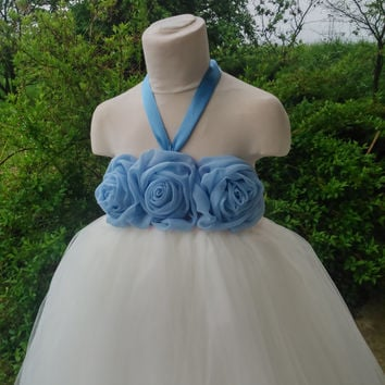 Flower girl tutu with blue chiffon flowers – wedding tutu dress – birthday tutu dress – party tutu dress – pageant dress – tutu dress