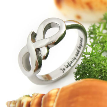 "Infinity Symbol Ring Secret Message ""To Infinity and Beyond"" Ring With Engraving"