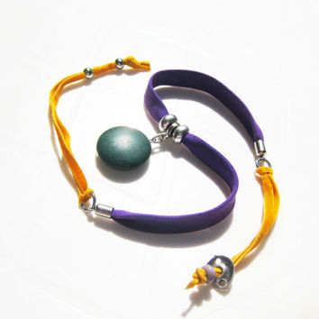Gypsy Style Fabric Necklace with Green Howlite Stone-Unique Adjustable Fabric Necklace- Fiber Art Jewelry-Purple and Yellow Necklace