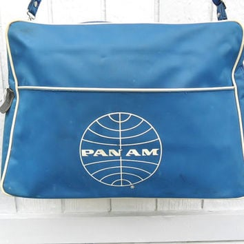 Vintage Flight Bag Pan Am Airlines 70s Blue Stewardess Tote Bag Carry On for Travelers Over Night Gym Office Work Messenger School Book Bag