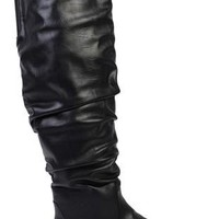 wide width black leather boot with slouch detailing - debshops.com