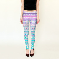 Beach Bandana Leggins // yoga pants, girly, ethnic tribal clothing, purple and mint, geometrics