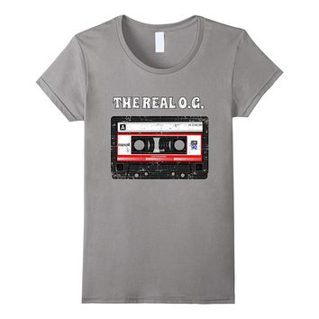 THE REAL O.G. CASSETTE TAPE MIX TAPE STYLE THROWBACK T SHIRT
