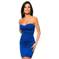 Sexy Fitted Strapless Sweetheart Hot Ruched Evening Club Party Womens Mini Dress