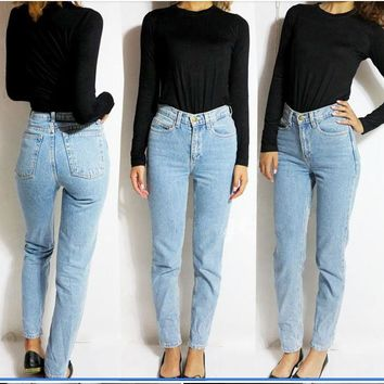 High waist blue denim boyfriend jeans