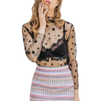 Summer See Through Ladies Mesh Tops Femme Long Sleeve Star Print Women