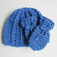 Blue Baby Thumbless  Mittens And Infant Winter Hat Set  Boy Beanie Girl  Fall Cap  6 To 12  Months   Children Clothing