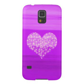 Purple heart with shining stars case for galaxy s5
