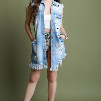 Slashed Back Frayed Hem Sleeveless Longline Denim Vest