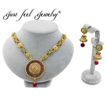 JUST FEEL Vintage 2pcs Nigerian/African/India/Turkey Jewelry Sets Fashion Dubai Gold Color Round Flowers Jewelry Set Wholesale