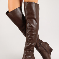 Round Toe Over-The-Knee Wedge Boot