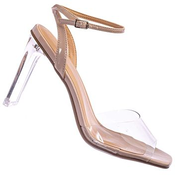 Illumi Lucite Perspex Thin Ankle Strap Heels - Womens Transparent Open Toe Shoes