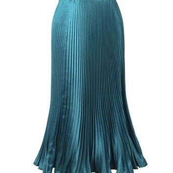 Streetstyle  Casual Solid-Color Deluxe Pleated Maxi Skirt
