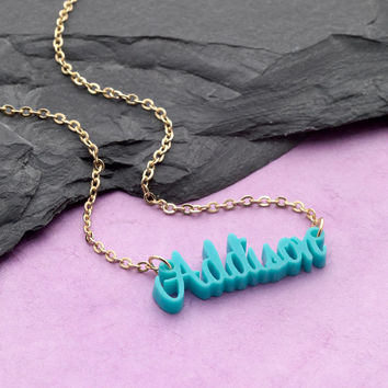 Preppy COLORFUL Acrylic MONOGRAM Full Name Plate SCRIPT Necklace Pendant