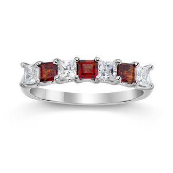 Genuine Garnet Princess Cut Stackable Band Ring