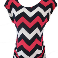Chevron Top in Hot Pink by QT Maternity - Maternity Clothing - Flybelly Maternity Clothing
