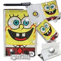 Sponge Bob iPad Mini Crystal & Rhinestone Rotating Faux Leather Case with Built In Stand & FREE Jersey Bling® Stylus (iPad Mini, Gold - Sponge Bob)