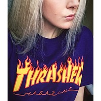 Thrasher Flame T-shirt print short sleeve top
