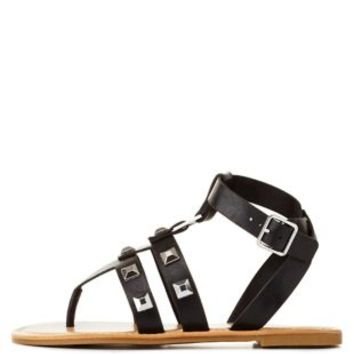 Black Bamboo Studded Thong Gladiator Sandals