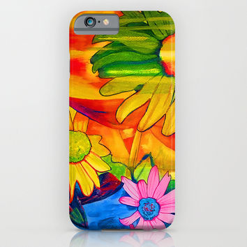 Psychedelic Daisies iPhone & iPod Case by Riet8995