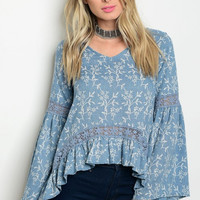 Women Boho Peasant Top Blouse Shirt Floral Bell Sleeve Crochet Casual Fashion