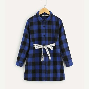 Girls Tied Waist Gingham Shirt Dress